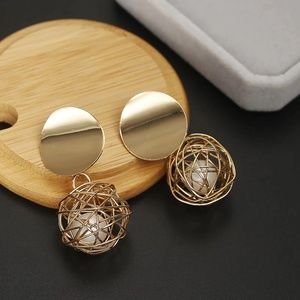 Jewelry - Simple Round Ball next Gold Pearl Earrings
